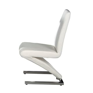 Neos Collection White PU Leather Dining Chairs With Z Shaped Base (Set Of 2