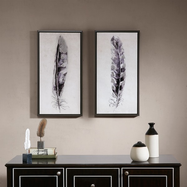 Madison Park Flight Feathers Grey Framed Gel Coated Canvas 2 Piece Set