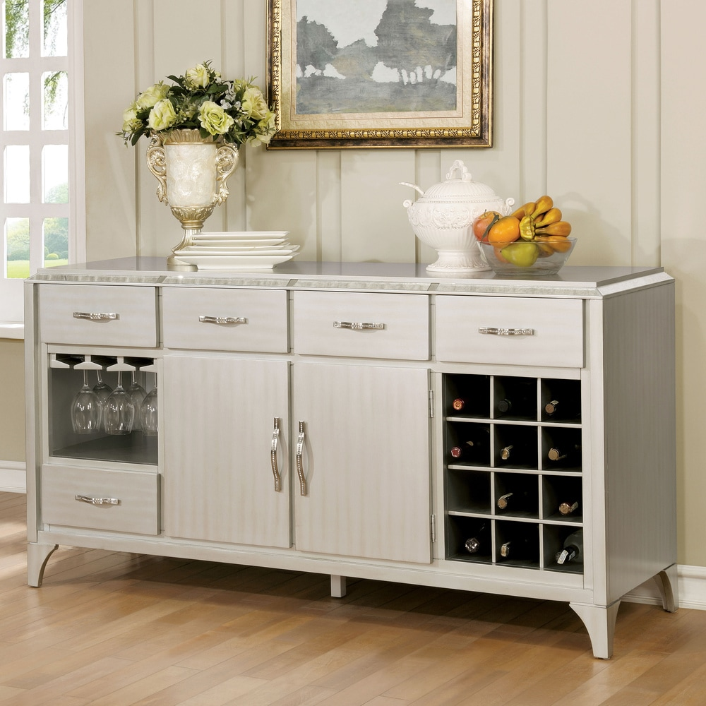 Furniture of America Weas Contemporary Silver Solid Wood Dining Server