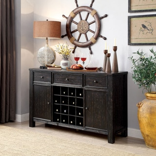Furniture of America Tays Contemporary Black Solid Wood Dining Server