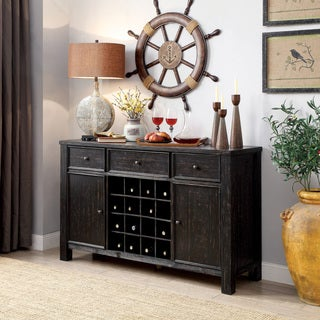 Furniture of America Telara Contemporary Antique Black Dining Server with Wine Storage