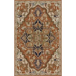 """Hand-hooked Prescott Rust/ Stone Wool Rug (7'9 x 9'9) - 7'9"""" x 9'9"""""""
