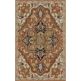 Hand-hooked Prescott Rust/ Stone Wool Rug (7'9 x 9'9)