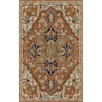 Hand-hooked Prescott Rust/ Stone Wool Rug (7'9 x 9'9) - 7'9 x 9'9