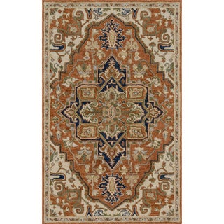 """Hand-hooked Prescott Rust/ Stone Wool Rug (5' x 7'6) - 5' x 7'6"""""""