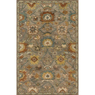 Hand-hooked Prescott Taupe/ Blue Wool Rug (3'6 x 5'6) - 3'6 x 5'6'