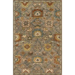 "Hand-hooked Prescott Taupe/ Blue Wool Rug (2'3 x 3'9) - 2'3"" x 3'9"""