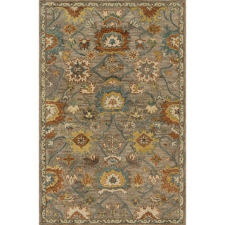Hand-hooked Prescott Taupe/ Blue Wool Rug (2'3 x 3'9)