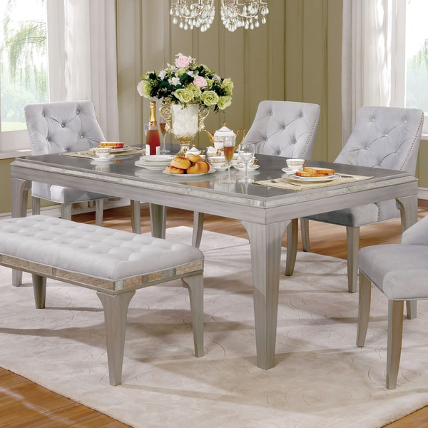 Furniture Of America Selano Contemporary Mirrored Silver 84 Inch Dining  Table