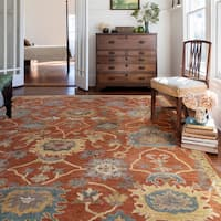 Hand-hooked Prescott Rust/ Gold Wool Rug (5' x 7'6)