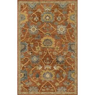 Hand-hooked Prescott Rust/ Gold Wool Rug (3'6 x 5'6)