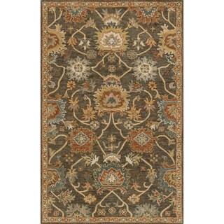 Hand-hooked Prescott Charcoal/ Gold Wool Rug (2'3 x 3'9)