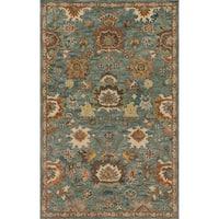 Hand-hooked Prescott Blue/ Rust Wool Rug - 3'6 x 5'6