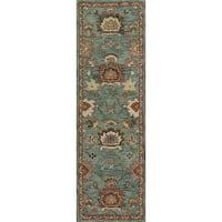 Hand-hooked Prescott Blue/ Rust Wool Runner Rug (2'6 x 7'6)