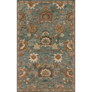 Hand-hooked Prescott Blue/ Rust Wool Rug (2'3 x 3'9)