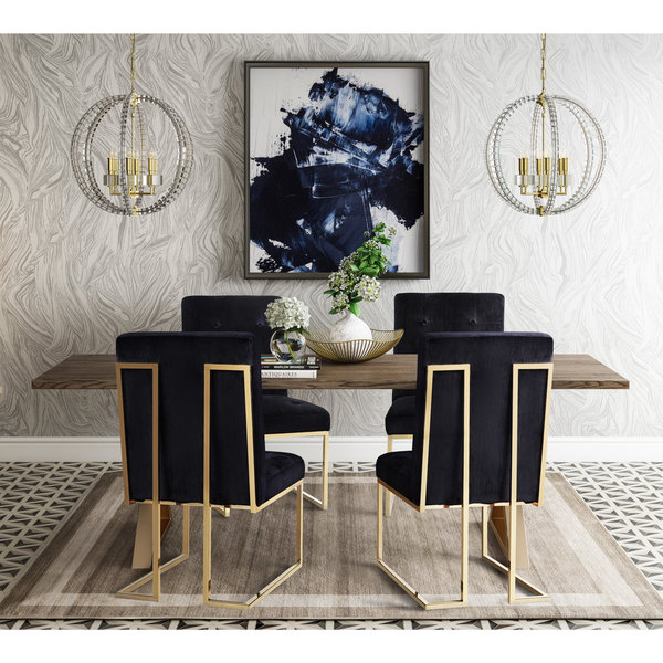 Akiko Black Velvet Chairs (Set Of 2)