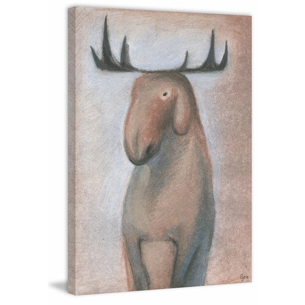 Happy Moose' Painting Print on Wrapped Canvas - Red