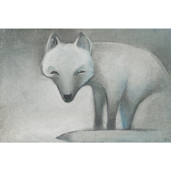 Snow Fox' Painting Print on Wrapped Canvas - White