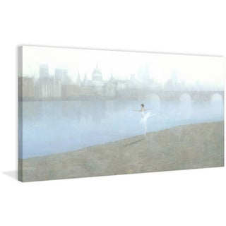 Ballerina on the Thames' Painting Print on Wrapped Canvas