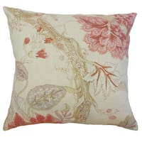Kende Floral 24 x 24 Down Feather Throw Pillow Natural Pink