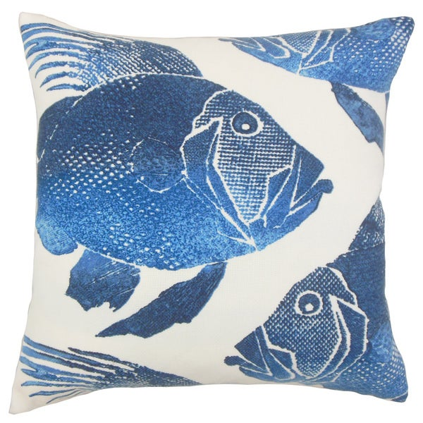 Lael Outdoor 24-inch Feather Throw Pillow Cobalt