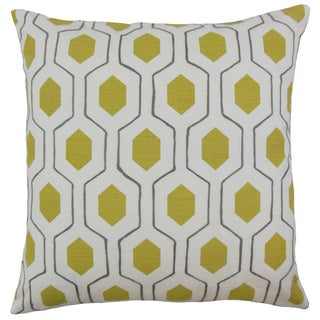 Flynn Geometric 24 x 24 Feather Throw Pillow Chartreuse
