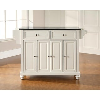 Havenside Home Milbridge White with Black Granite Top Kitchen Island