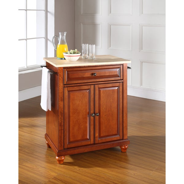 Shop Cambridge Natural Wood Top Portable Kitchen Island In