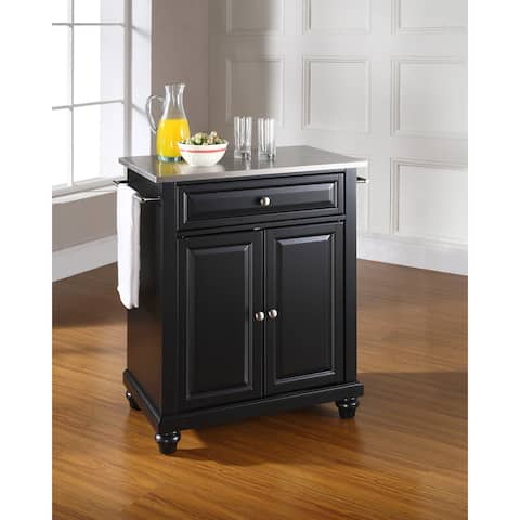 Cambridge Stainless Steel Top Portable Kitchen Island in Black Finish