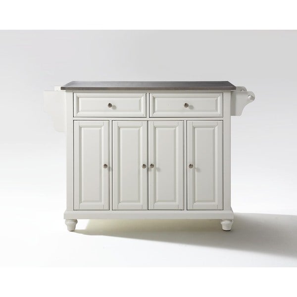 Maison Rouge Malcolm Stainless Steel Top Kitchen Island In White Finish