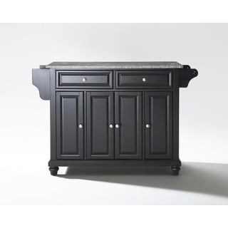 Copper Grove Bell Lake Solid Granite Top Kitchen Island with Black Finish