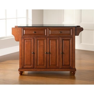 Cambridge Solid Black Granite Top Kitchen Island in Classic Cherry Finish