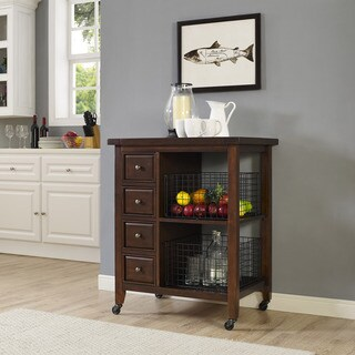 Sienna Kitchen Cart in Rustic Mahogany