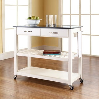 Solid Black Granite Top Kitchen Cart/Island With Optional Stool Storage in White Finish