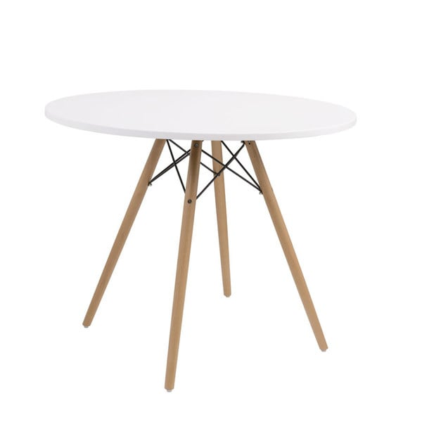 "Annette White and Natural Beechwood 40"" Round Dining Table with Round Top, Wood Legs, And Metal Supports"