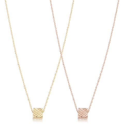 Fremada 14k Gold Diamond-cut Cube Necklace (17 inches)