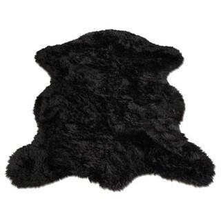Black Faux Fur Sheepskin Pelt Shape Shag Area Rug (5' x 7')