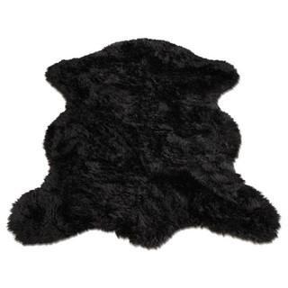 Black Faux Fur Sheepskin Pelt Shape Area Rug 5