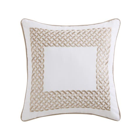 """Oceanfront Resort Tropical Plantation Cotton Embroidered 18"""" Square Decorative Pillow"""