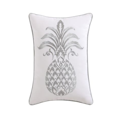 Oceanfront Resort Tropical Plantation Cotton Embroidered 12 x 18 Pineapple Pillow