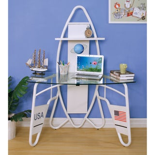 Furniture of America Jupiter Space Shuttle-inspired Glass Top White Youth Desk