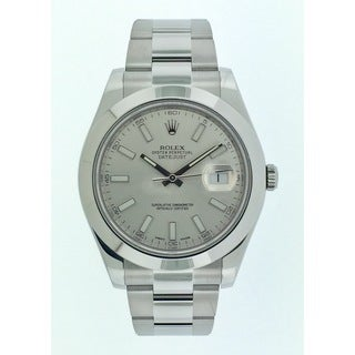 Pre-Owned Rolex Men's Datejust II Stainless Steel Silver Dial 41mm Watch 116300