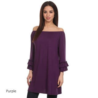 Women's Solid Tiered Ruffled Tunic|https://ak1.ostkcdn.com/images/products/15872011/P22279984.jpg?impolicy=medium