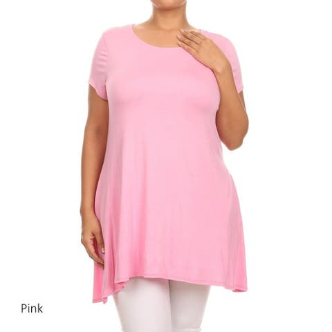 Women's Plus Size Solid Tunic Top with Pockets