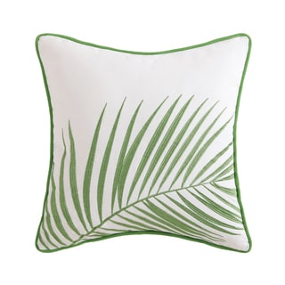 """Oceanfront Resort Coco Paradise 16"""" Square Cotton Embroidered Palm Decorative Pillow"""