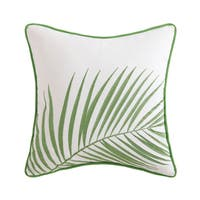 "Oceanfront Resort Coco Paradise 16"" Square Cotton Embroidered Palm Decorative Pillow"