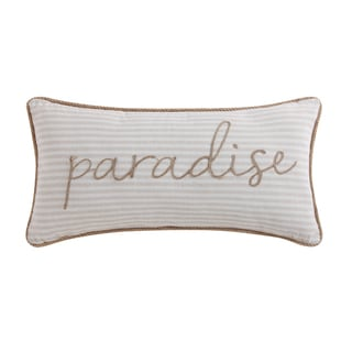 Oceanfront Resort Tropical Plantation Cotton Embroidered 16 x 32 Woven Stripe Decorative Pillow
