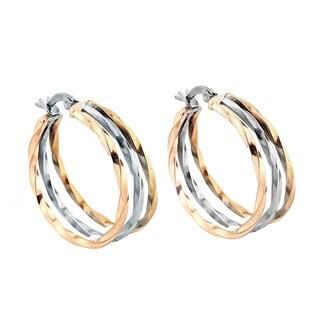 Stainless Steel Tri Color Twisted Hoop Earrings