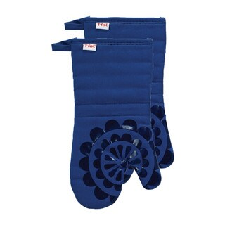 T-fal Textiles 2 Pack Print Silicone Medallion Cotton Twill Oven Mitt Set (Option: Green)