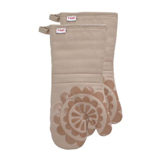 T-fal Textiles 2 Pack Print Silicone Medallion Cotton Twill Oven Mitt Set (Option: Sand)